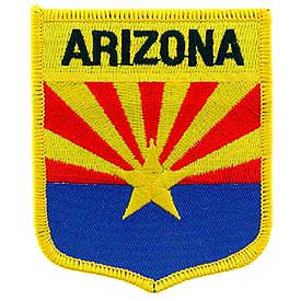 Arizona Flag Patch. 2 7/8 W x 3 1/2 H.
