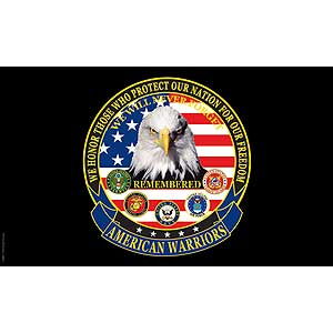 American Warriors 3x5' Polyester Flag