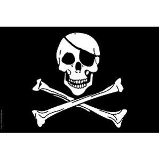 Jolly Rodgers Skull and Cross Bones 2x3' polyester flag.