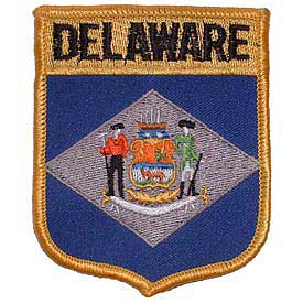 Delaware Flag Patch. 2 7/8 W x 3 1/2 H.