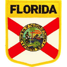 Florida Flag Patch. 2 7/8 W x 3 1/2 H.