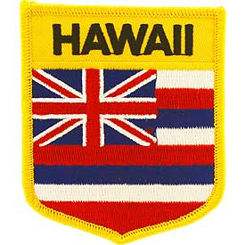 Hawaii Flag Patch. 2 7/8 W x 3 1/2 H.