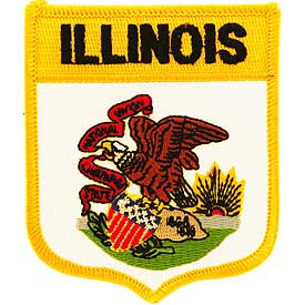 Illinois Flag Patch. 2 7/8W x 3 1/2 H.