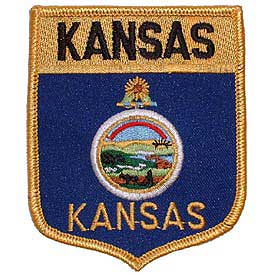 Kansas Flag Patch. 2 7/8 W x 3 1/2 H.