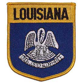 Louisiana Flag Patch. 2 7/8 W x 3 1/2 H.