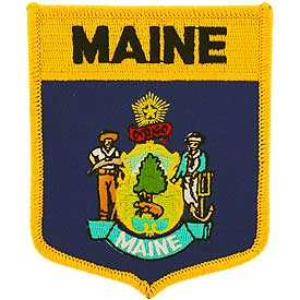 Maine Flag Patch. 2 7/8 W x 3 1/2 H.