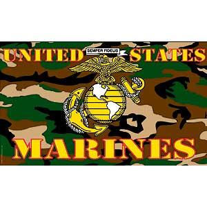 USMC Camo 3x5' Polyester Flag